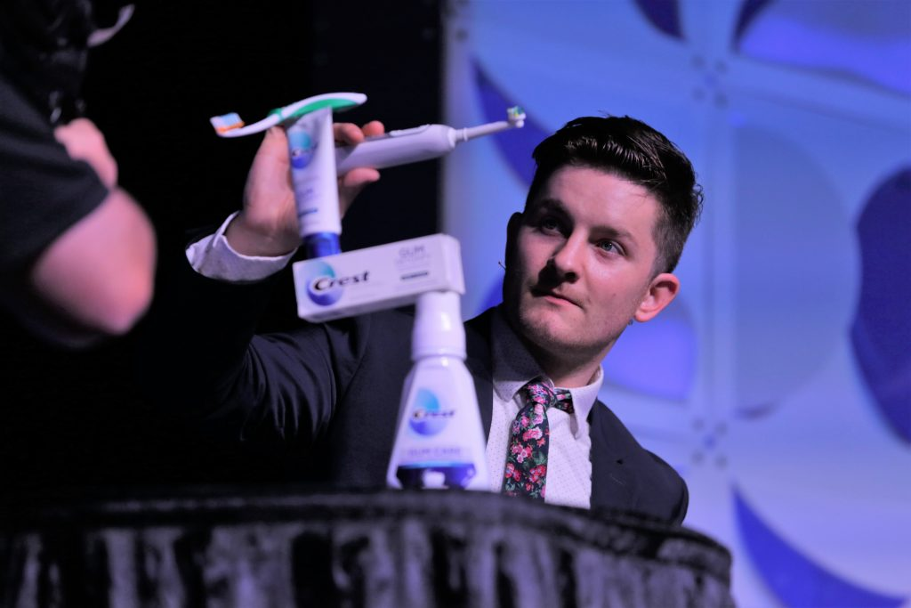 MPG hired a magician to help entertain dental hygienists at Crest + Oral-B's annual ADHA breakfast
