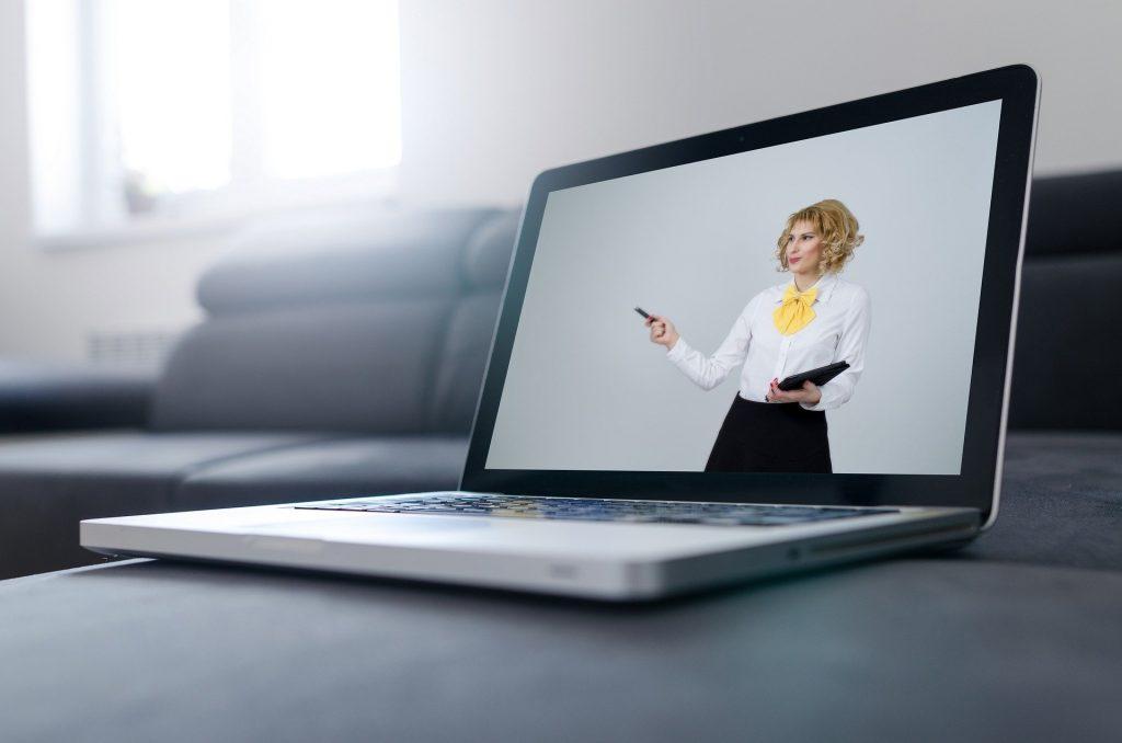 A woman giving a virtual presentation